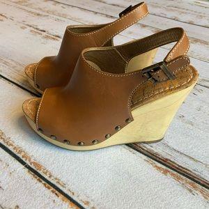 Sam Edelman Brown Leather Cork Heel Wedges